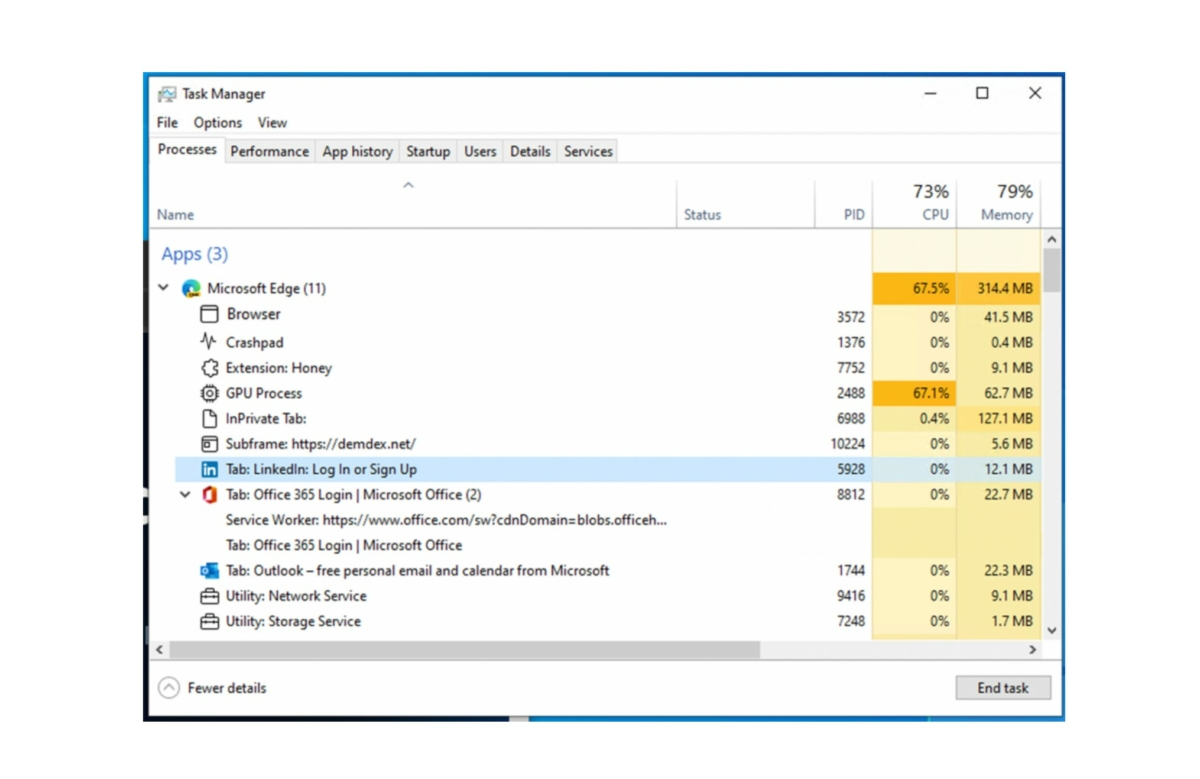 Microsoft Edge Windows Task Manager