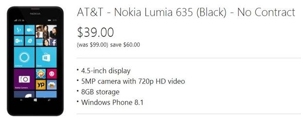microsoft nokia lumia 635 deal