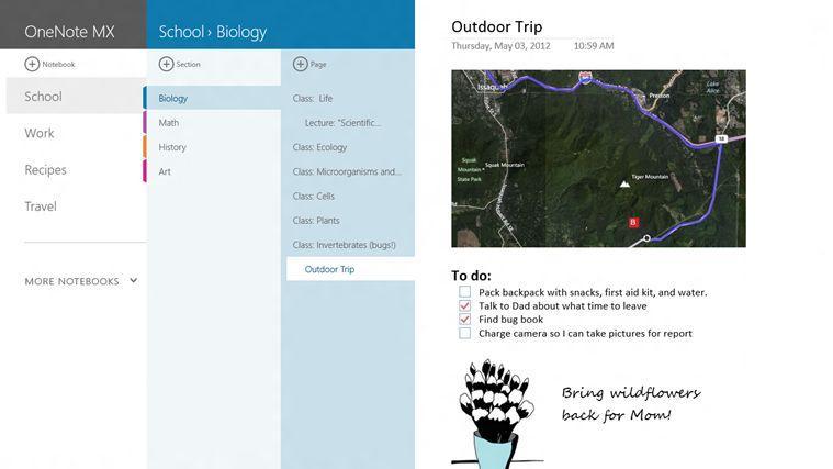 Microsoft OneNote MX Windows 8 app