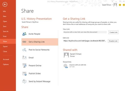 Office SkyDrive Sharing