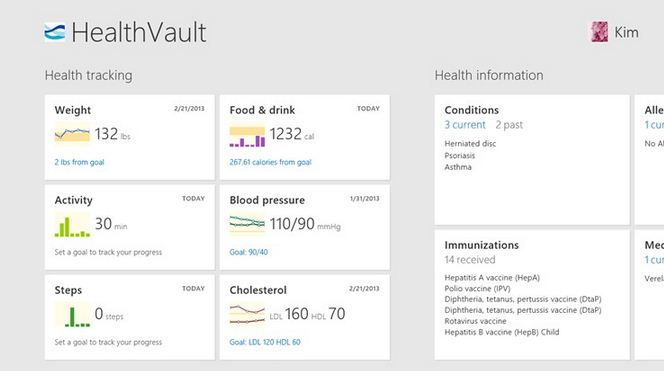 HealthVault Windows Store