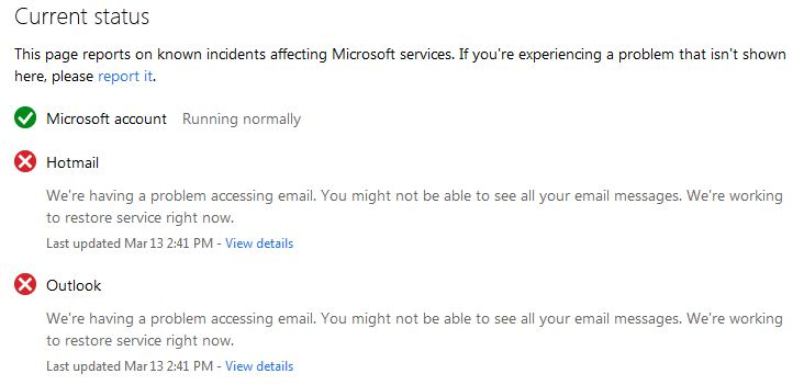 Hotmail Outlook Problems