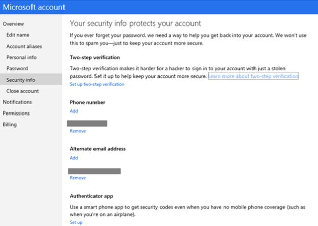 Microsoft Account Two Step Authentication