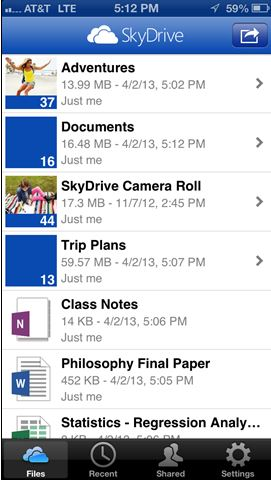 SkyDrive iOS App