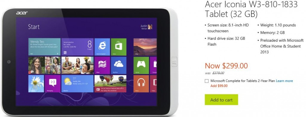 Acer W3 Windows 8 Tablet