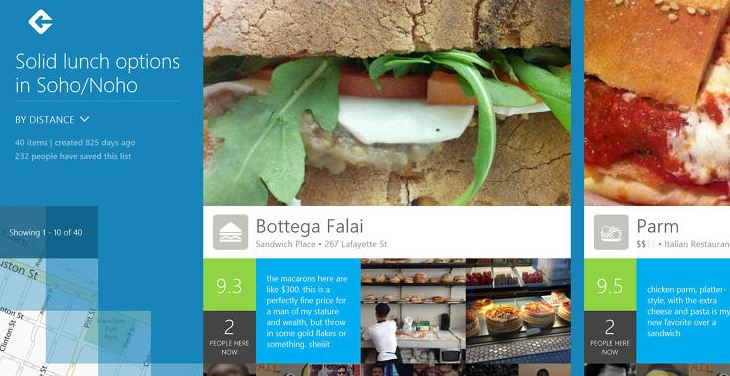 FourSquare Windows 8 app