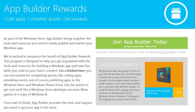 Windows App Builder Rewards