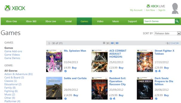 Windows PC Marketplace Xbox Games