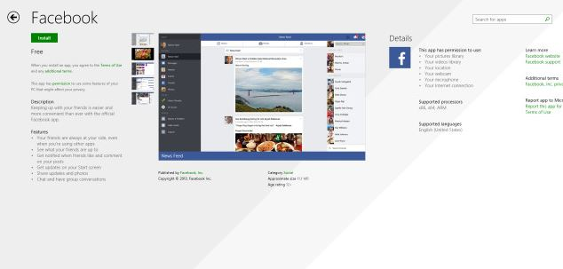 Facebook Windows Store