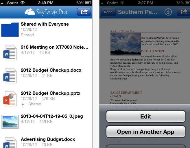 SkyDrive Pro iOS v1.1