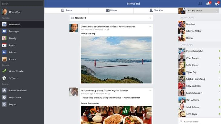 Facebook Windows 8.1 app