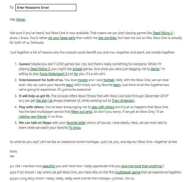 Xbox One lover letter