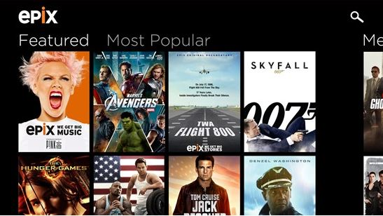 Epix Windows Store app