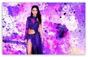 Selena Gomez Purple Sari