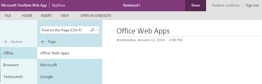 OneNote Office Web App