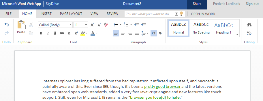Word Office Web App