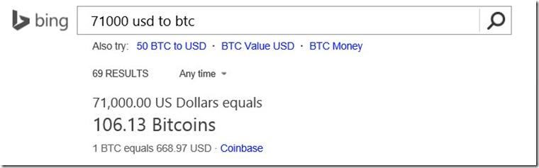 Bing Bitcoin Microsoft