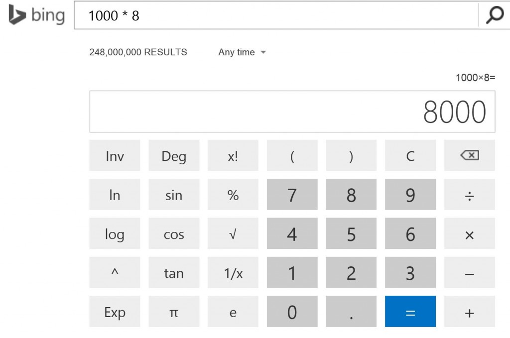 Bing interactive calculator