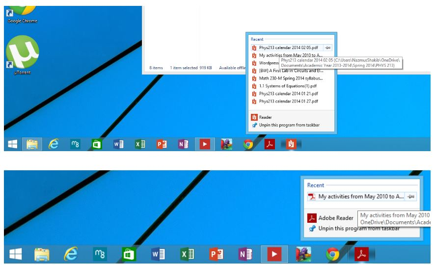 Windows 8.1 Jumplists