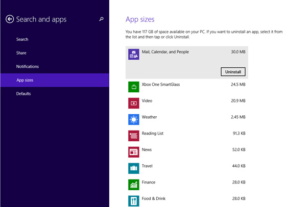 Windows 8.1 app-sizes