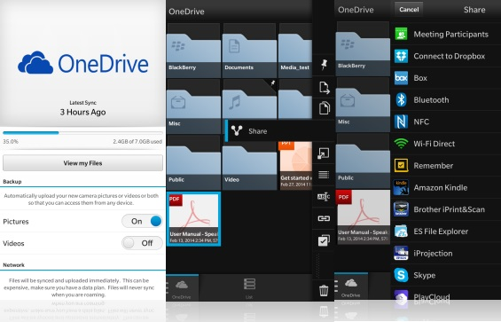 Blackberry 10 OneDrive app