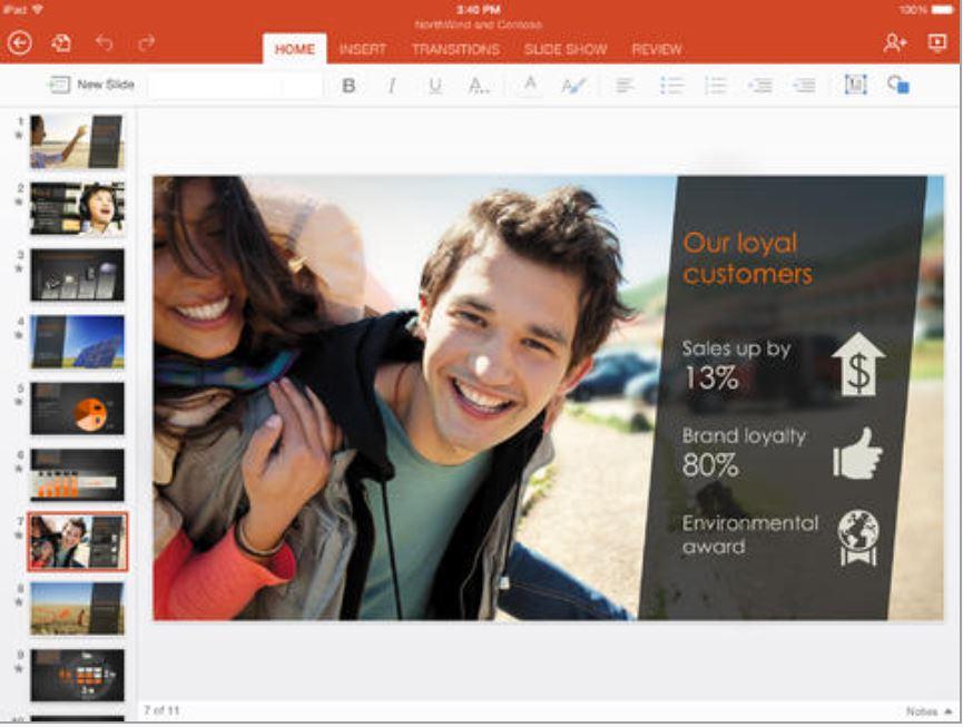 Microsoft PowerPoint iPad app