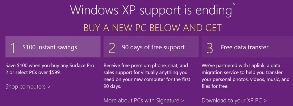 Windows XP Store offer