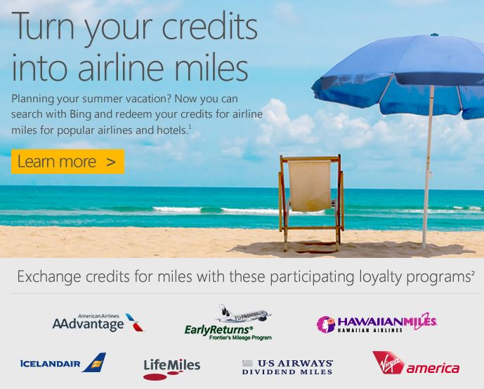 Bing Rewards Airlines program
