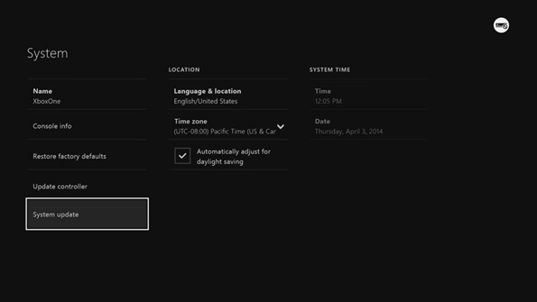 Xbox One Update Setting