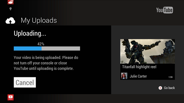 Xbox One YouTube app