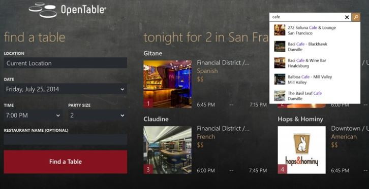 OpenTable Windows Store app