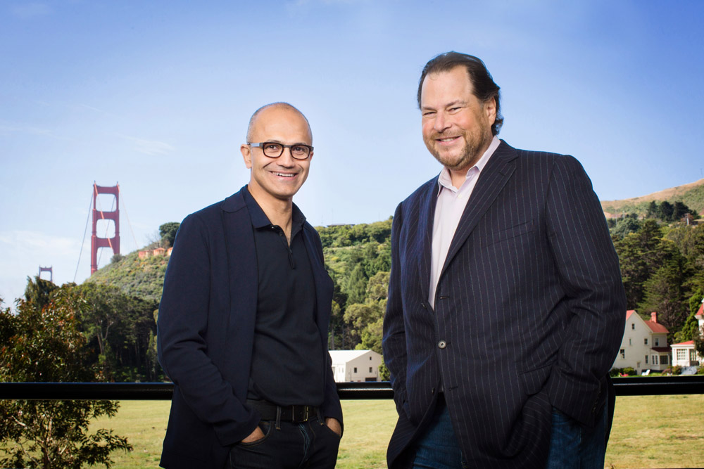 Satya Nadella Mark Benioff microsoftSalesforceComPartnership_Web