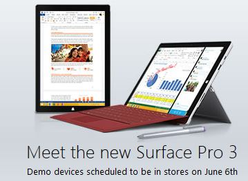 Surface Pro 3 demo Microsoft Stores