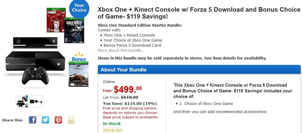 Wallmart Xbox One Deal