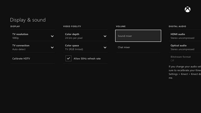 Xbox One Audio Control