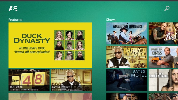 A&E Windows Store app