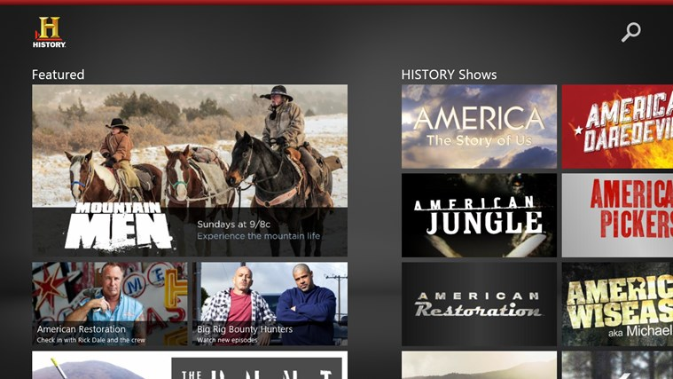History channel Windows Store app