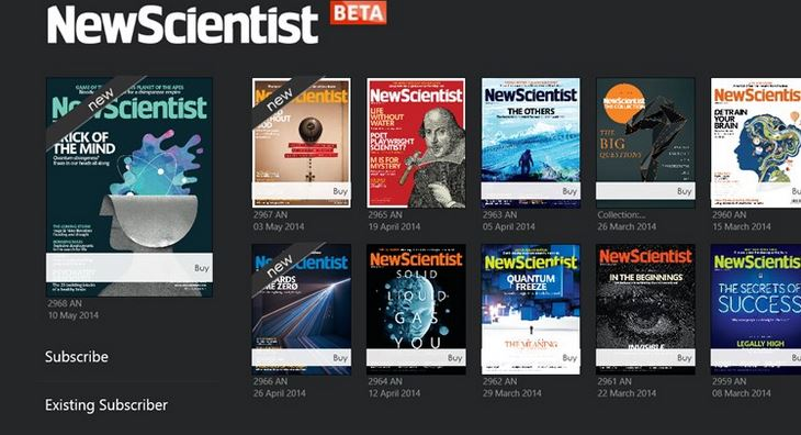 New Scientist Windows Store app