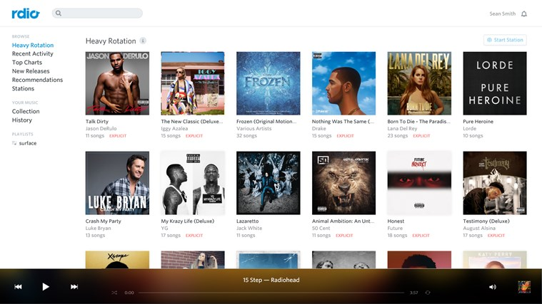 Rdio Windows Store app