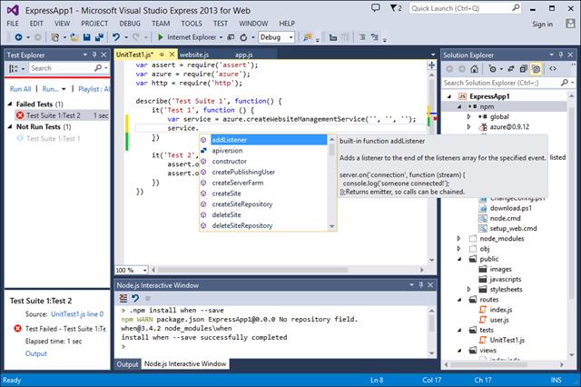 Node Js Visual Studio