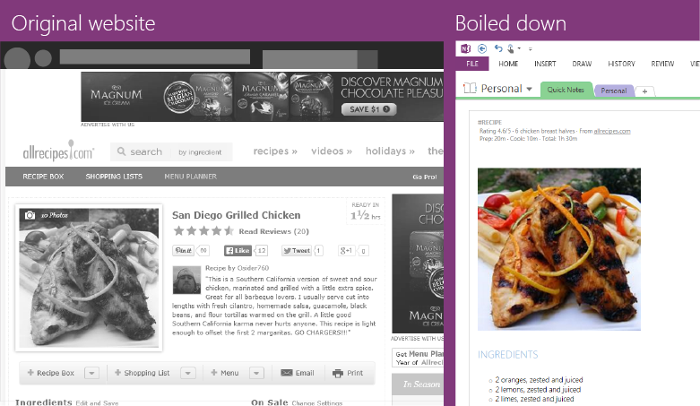 OneNote Recepies Clipping