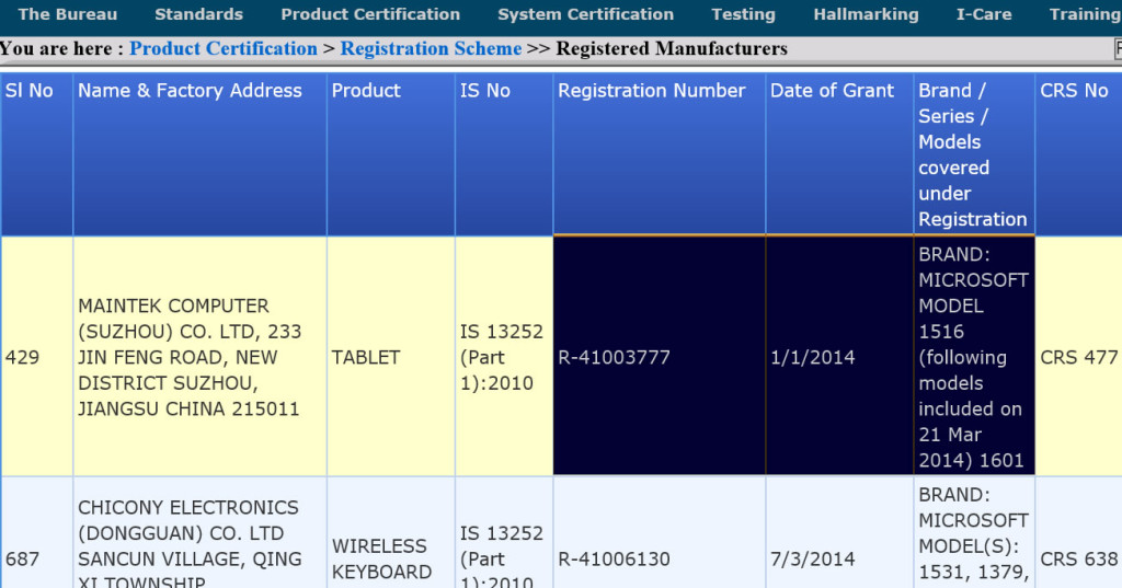 Microsoft Surface Tablets Passes Through Bis Certification In India