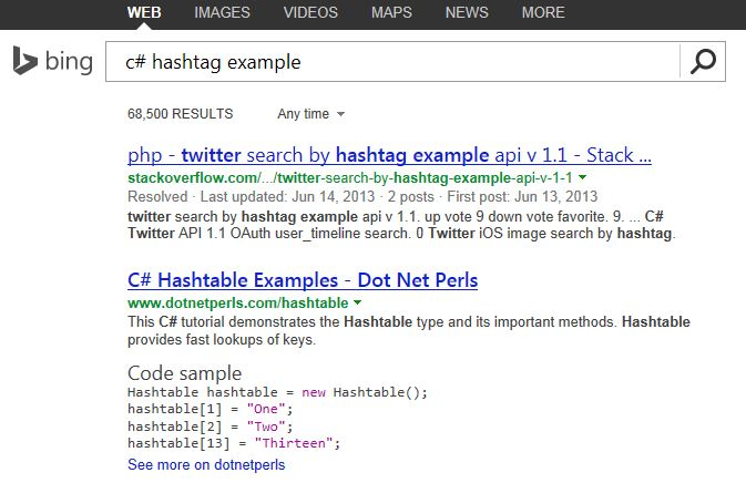 Bing Developer Searches
