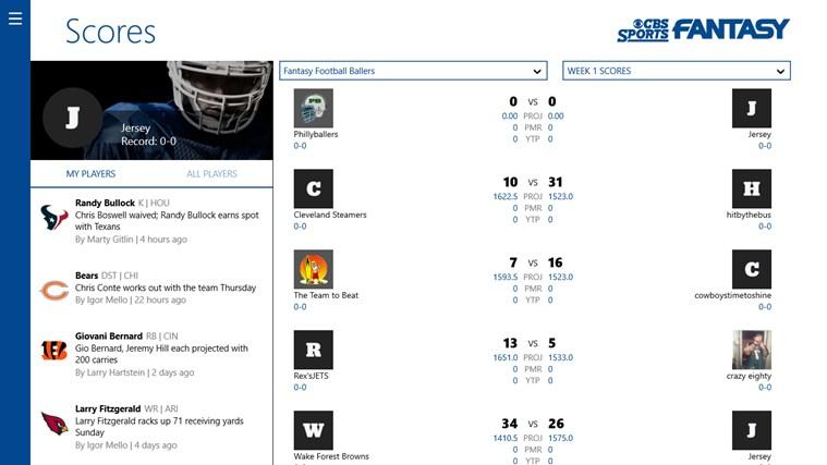 CBS Sports Fantasy App