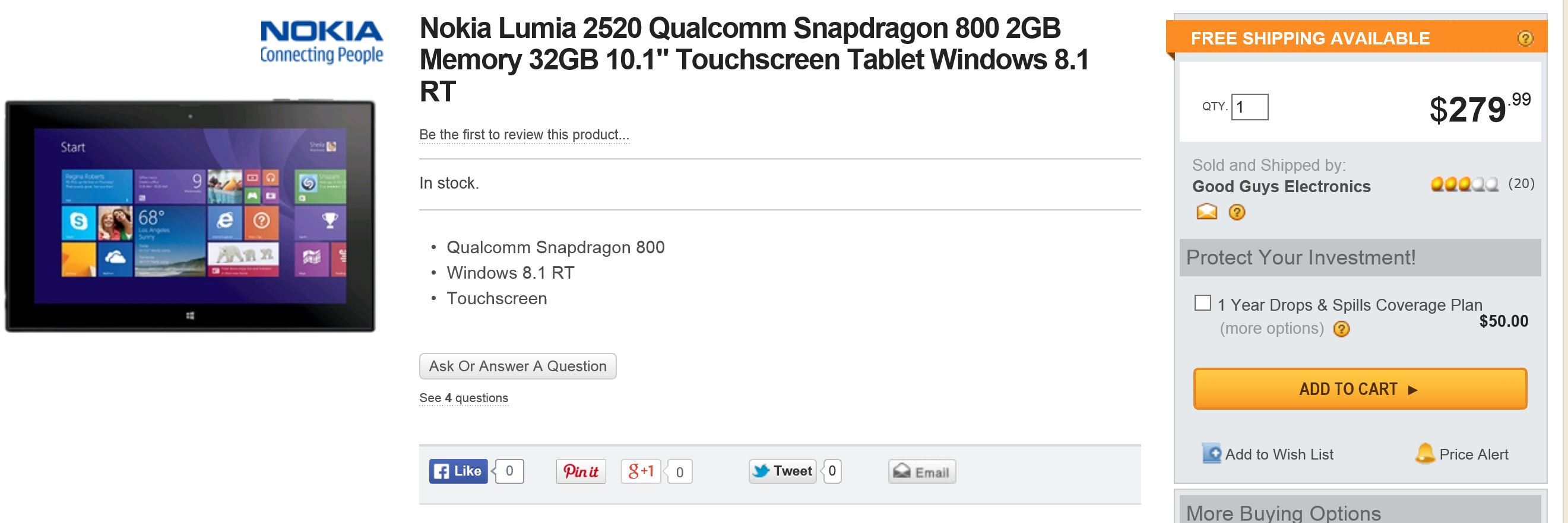 Nokia Lumia 2520 Deal