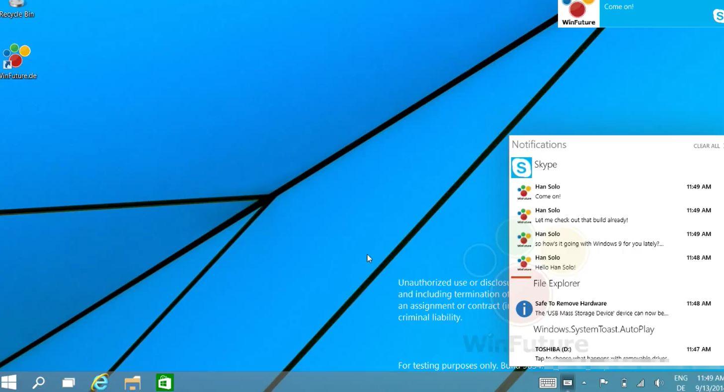 Windows 9 Notifications