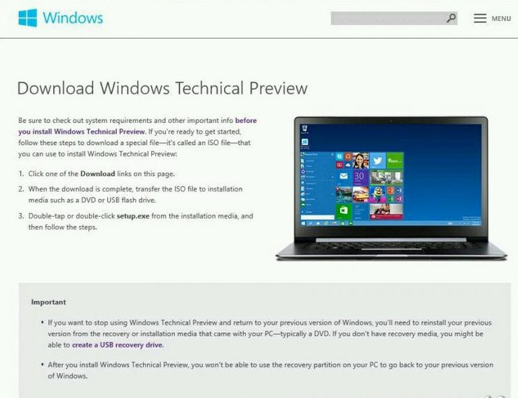 Windows 9 Technical Preview Download