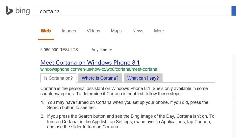 Bing Cortana Search