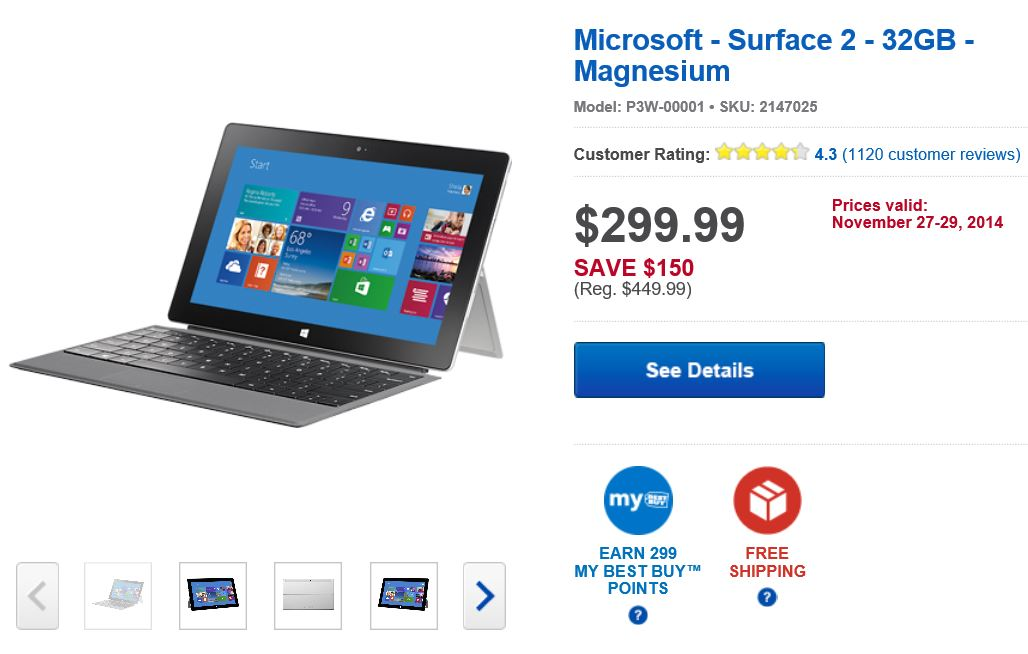 Surface 2 BestBuy Deal