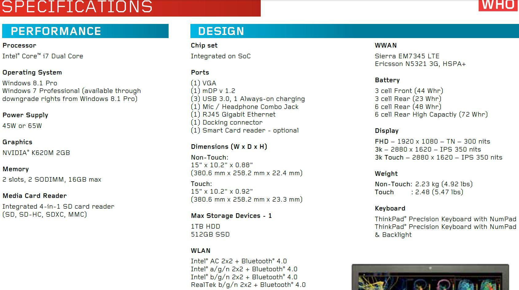 Lenovo ThinkPad W550s Specs